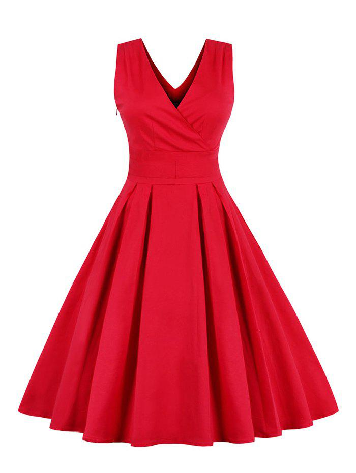 Retro Sleeveless Tea Length Party Dress - RED M