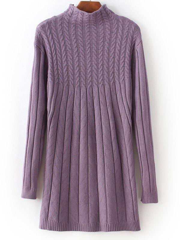 High Neck Cable Knit Fitted Sweater Dress - PURPLE ONE SIZE