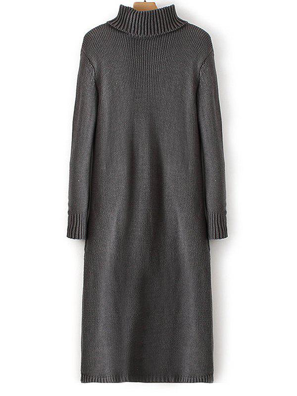 Ribbed Turtleneck Long Sleeve Sweater Dress - GRAY ONE SIZE