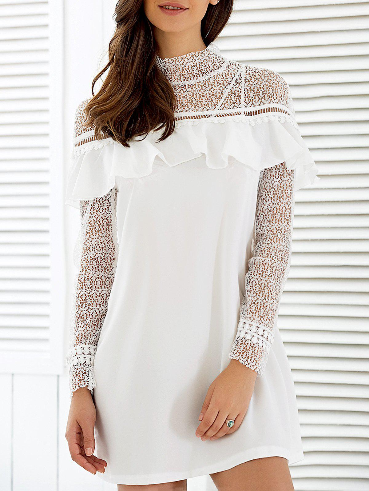 Flounce Splicing Long Sleeve Dress - WHITE S