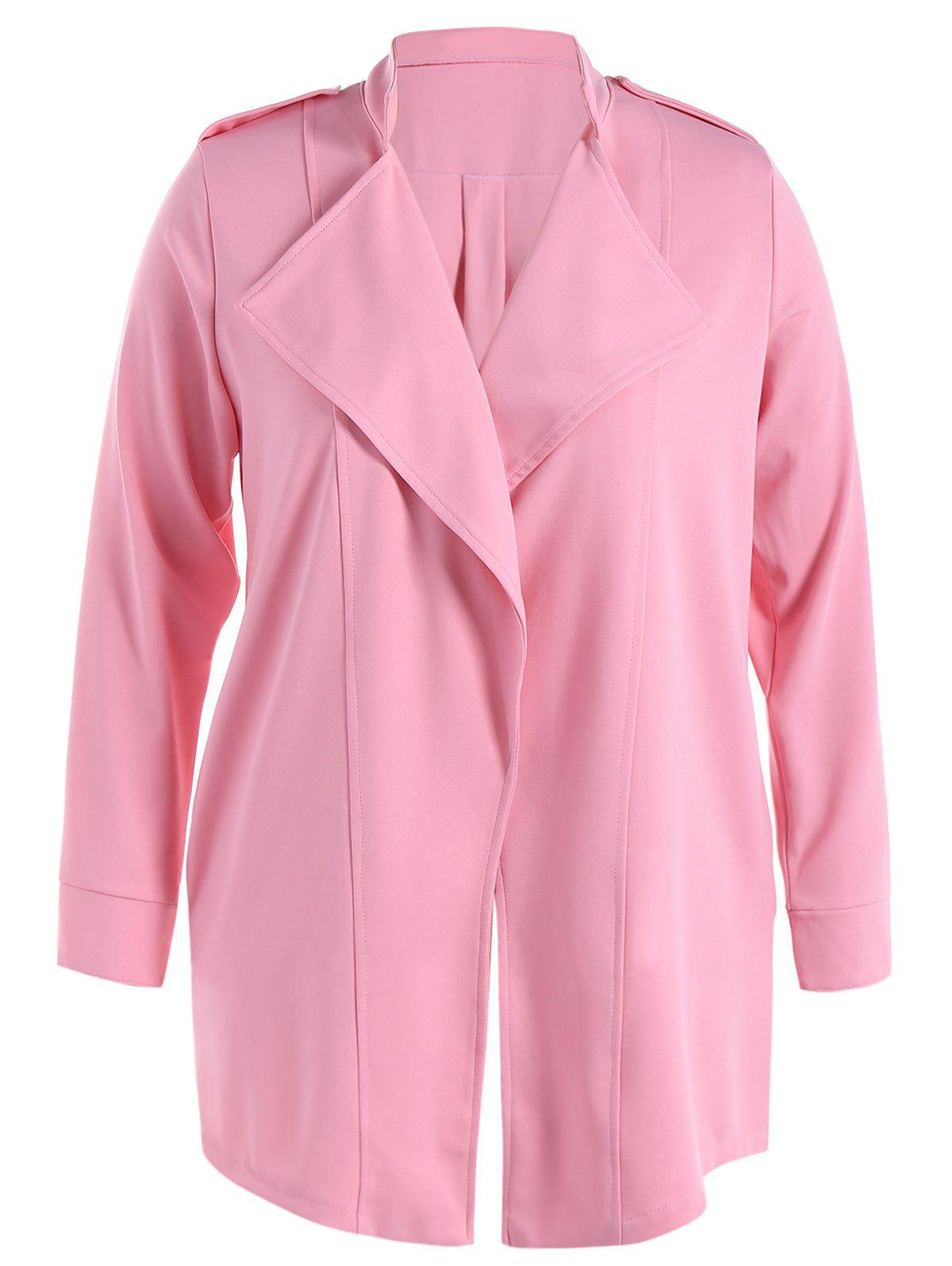 Stand Collar Waterfall Coat With Epaulet - PINK XL
