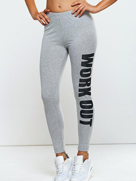 Stretchy Side Letter Print Skinny Pants - LIGHT GRAY ONE SIZE