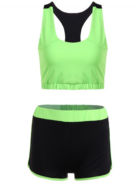 Racerback U Neck Sporty Bra and Shorts Twinset - NEON GREEN XL