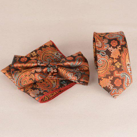 Casual Ancient Paisley Jacquard Cravate Set - Orange