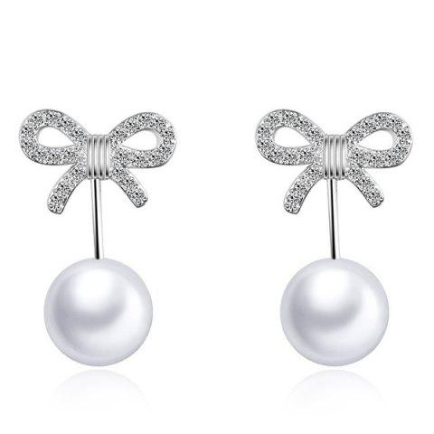 Rhinestone Artificial Pearl Bowknot Earrings - SILVER
