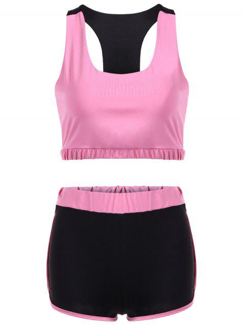 Racerback U Neck Sporty Bra and Shorts Twinset - PINK L