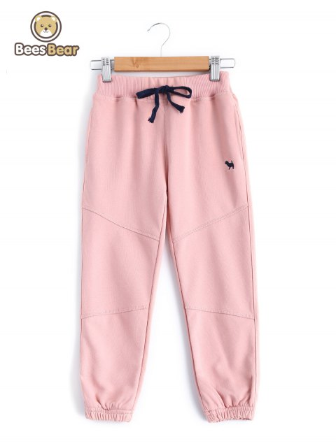 Fille de taille coulissée Pocket design Sweatpants - Rose Léger CHILD-6