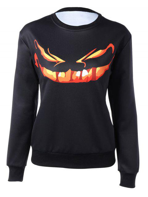 Long Sleeve Cartoon Print Sweatshirt - BLACK S
