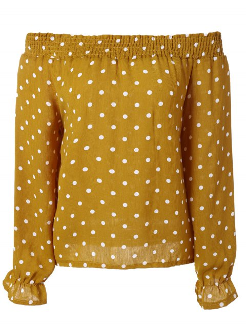Off-The-Shoulder Polka Dot Trumpet Sleeves Blouse - EARTHY ONE SIZE
