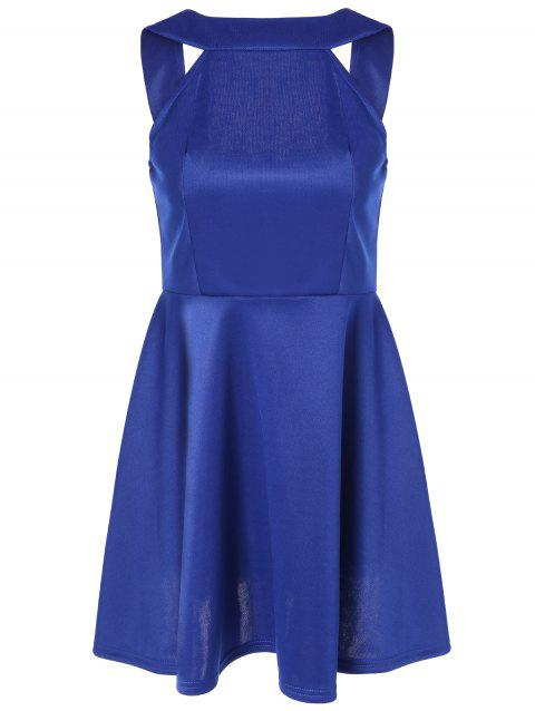 Sleeveless Backless Fit and Flare Dress - BLUE M