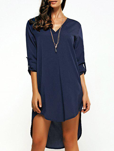 Asymmetrical V Neck Casual Knee Length Going Out Dress - PURPLISH BLUE L