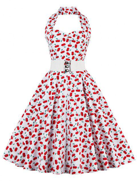 Cherry Print Halter Vintage Swing A Line Dress - RED XL