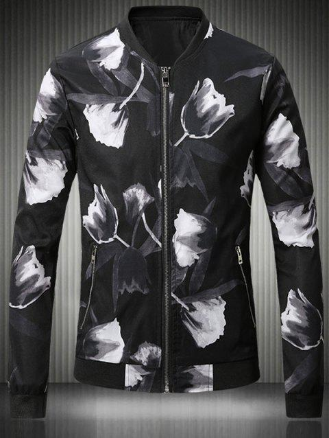 3D Rose Print Stand Collar Plus Size Bomber Jacket - BLACK M