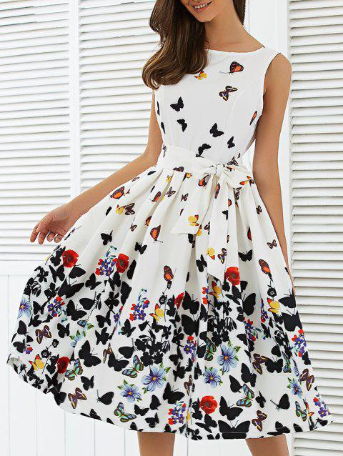 e2ecefa7128 41% OFF  2019 Sleeveless Floral Print Self Tie A Line Dress In WHITE ...