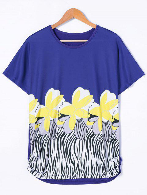 Batwing Sleeve Floral T-Shirt - BLUE/YELLOW M