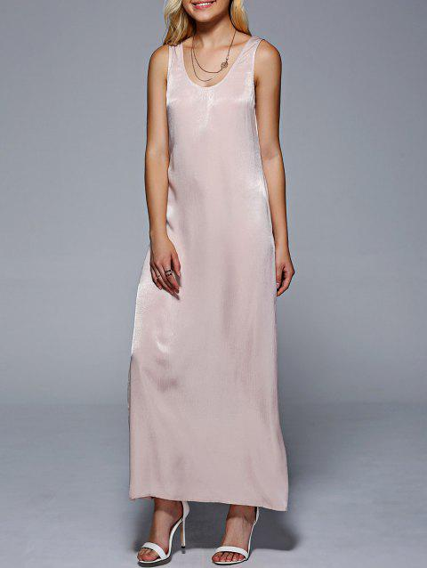 Women 's  V Neck manches Solid Color Maxi Dress - Carnation M