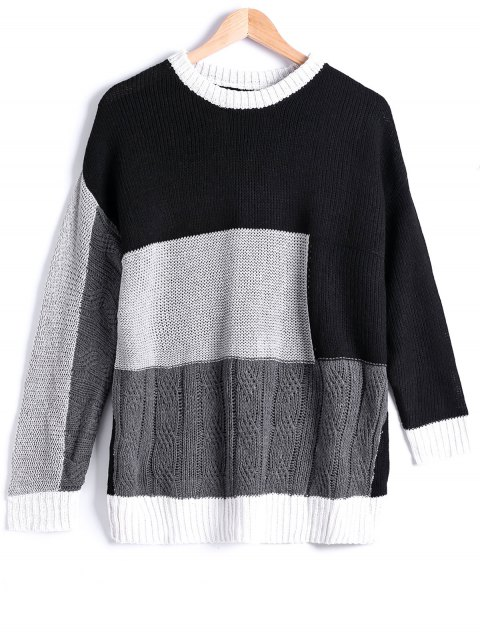Rue snap style Color Block Sweater - Noir ONE SIZE
