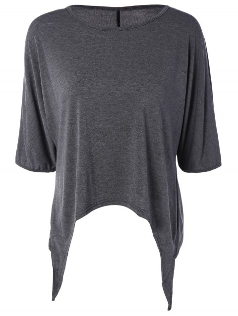 Half Sleeve Asymmetric T-Shirt - GRAY XL