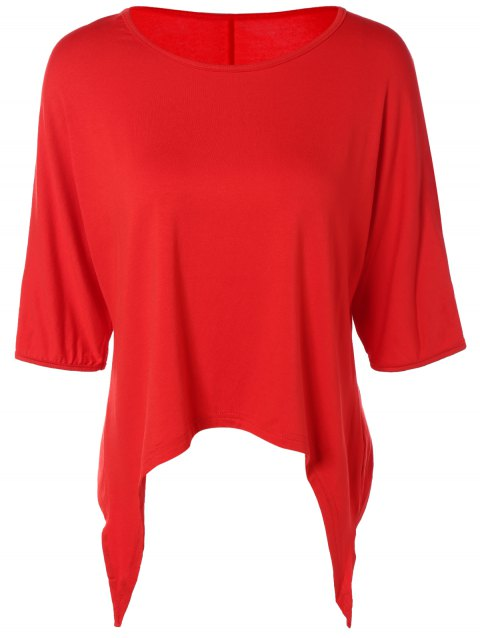 Half Sleeve Asymmetric T-Shirt - RED 2XL