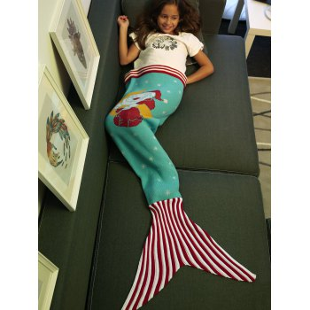 Super Soft Moon and Santa Claus Pattern Knitting Mermaid Tail Blanket - AZURE M