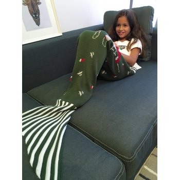 Super Soft Christmas style Knitting Mermaid Tail Blanket - Vert Foncé M