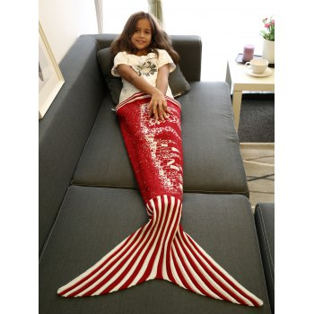 Warmth Christmas Tree and House Pattern Knitting Mermaid Blanket - RED RED