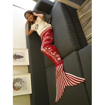 Warmth Christmas Tree and House Pattern Knitting Mermaid Blanket - M M