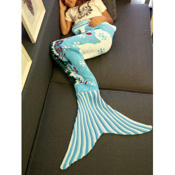 Super Soft Snows and Mini-Train Pattern Knitting Christmas Mermaid Blanket - LIGHT BLUE M
