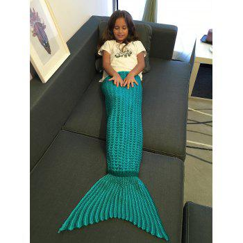 Warmth Crochet Style Knitting Mermaid Tail Blanket For Kid - GREEN GREEN