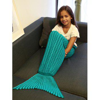 Warmth Crochet Style Knitting Mermaid Tail Blanket For Kid - GREEN