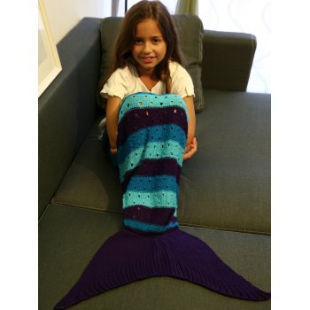Crochet Knitting Hollow Out Kid  's Mermaid Tail Blanket - multicolorcolore