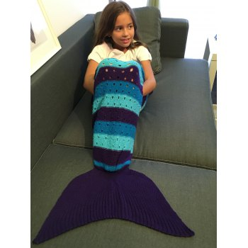 Crochet Knitting Hollow Out Kid's Mermaid Tail Blanket - COLORMIX COLORMIX
