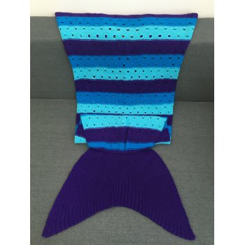 Crochet Knitting Hollow Out Kid's Mermaid Tail Blanket - COLORMIX