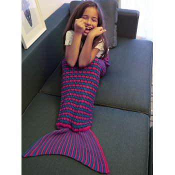Crochet Knitting Stripe Pattern Kid's Fish Tail Design Blanket -  PURPLE