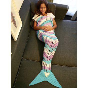 Color Block Hollow Out Crochet Knitting Mermaid Blanket For Kid - COLORMIX COLORMIX