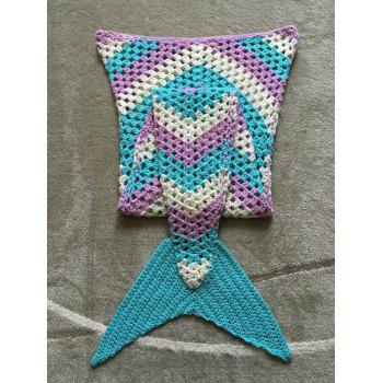 Color Block Hollow Out Crochet Knitting Mermaid Blanket For Kid - multicolorcolore