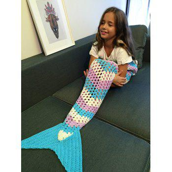 Color Block Hollow Out Crochet Knitting Mermaid Blanket For Kid -  COLORMIX