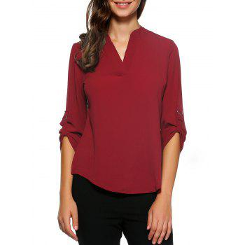 D-Ring Roll Sleeve High Low Blouse