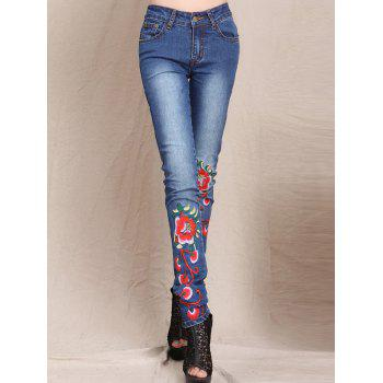 Slimming Flower Embroidered Bleach Wash Jeans
