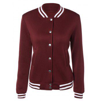 Snap Button Up Varsity Stripe Jacket