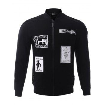 BoyNewYork Cartoon Print Zip-Up Pocket Jacket