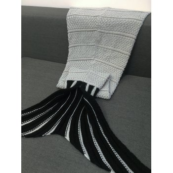 High Quality Stripe Pattern Crochet Knitting Mermaid Tail Design Blanket For Kid - GRAY