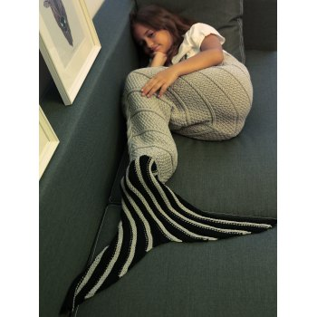 Stripe haute qualité Motif Crochet Knitting Mermaid Tail design Blanket Pour Kid - Gris