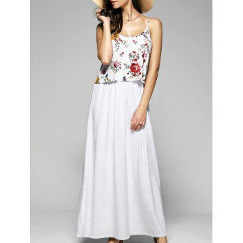Buy Open Back Floral Popover Dress LIGHT GRAY