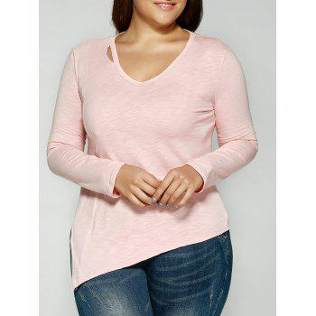 Cut Out V Neck Slant Asymmetric Slimming T-Shirt - PINK M