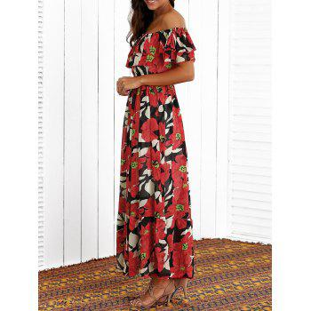 Flounced Floral Print Maxi Dress