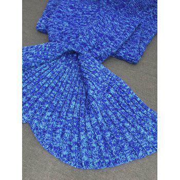 Comfortable Acrylic Knitted Sofa Mermaid Tail Style Blanket - BLUE
