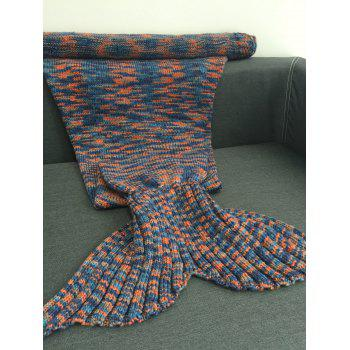 Comfortable Knitted Scrawl Multicolor Style Mermaid Blanket - COLORMIX