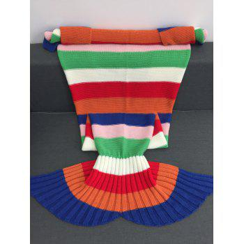Comfortable Acrylic Knitting Colorful Striped Mermaid Tail Design Blanket - COLORFUL