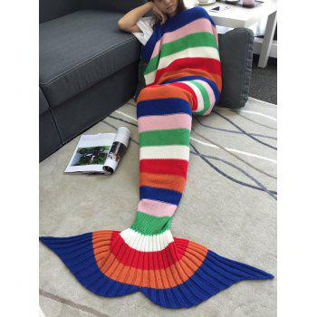 Comfortable Acrylic Knitting Colorful Striped Mermaid Tail Design Blanket